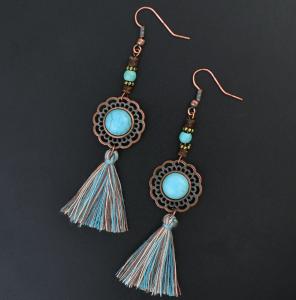 E-4214 2 Colors Bohomia Style Shiny Alloy Turquoise Beads Chain Tassel Pendant Charm Women Jewelry