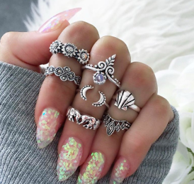 R-1470 7 Pcs/set Fashion Vintage Silver Goold Plated Shell Shape Knuckle Nail Turquoise Midi Ring Set Jewelry for Women
