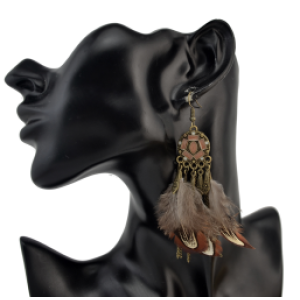 E-4228 2 Styles Bohomia Shiny Alloy Hook Feather Earrings Tassel Brown Green Women Jewelry