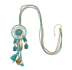 N-6909 5 Colors Bohemian Fashion Gold Plated Chain  Beads Rhinestone Tassel Necklace For Women Jewelry Summwe