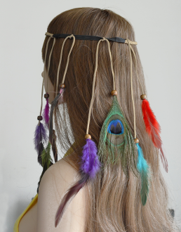 F-0452 Fashion Handmade Ethnic Gypsy Rope Colorful  Feather Hairbands Women Boho  Hairband Hair Accessory