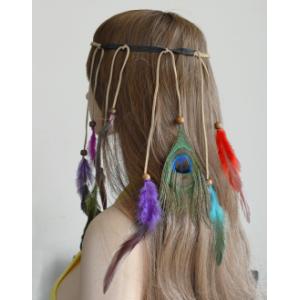 F-0452 Fashion Handmade Ethnic Gypsy Rope Colorful  Feather Hairbands Women Boho  Hairband Hair Accessory
