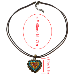 N-4836 N-4805 2 Styles Vintage Rhinestone Heart Shape Pendant Necklaces for Women Party Birthday Gift