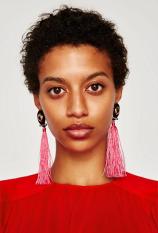 E-4260 6 Colors Women Beads Chain Long Tassel Drop Earrings Bohemian Wedding Party Jewelry Gift