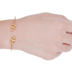 B-0596 New Gold Plated Chain Leaf Bracelet Summer