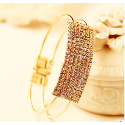 B-0382Fashion  Gold Alloy Rectangle Shape Full rhinestone Luxury Opening Cuff Bracelets Bangles