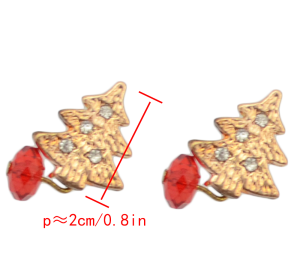E-1587/1577 Charming Gold Plated Tree Red Gem Earrings