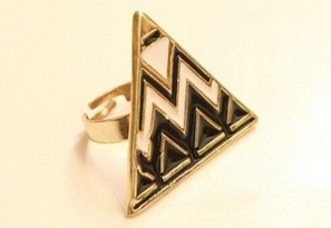 R-0740 New Fashion Triangle Gold Plated Alloy Wave  Ring