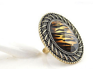 R-0806 New Fashion Round Gold Plated Alloy Ring
