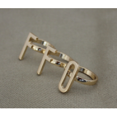 R-1184 New Fashion OFF ON Shape Gold Alloy Ring