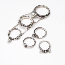 R-1474 6 Pcs/Set Pearl Antique Silver Gold Rhinestone Knuckle Midi Finger Rings Set for Women Jewelry