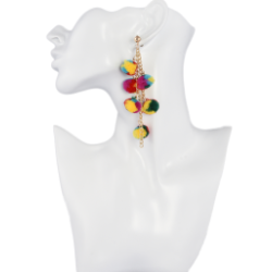 E-4262 Fashion Bohemian Colorful Bead Drop Earrings Party Gold Plated Jewelry