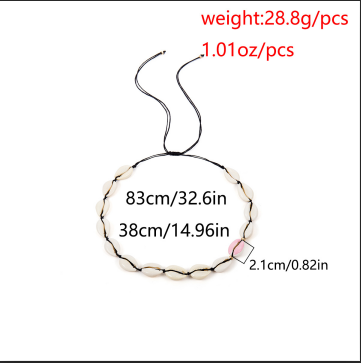 N-7218 Shell Drop Oil Asymmetrical Necklace for Women's Jewelry Design