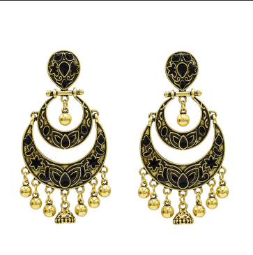 E-5263 Indian Style Double Crescent Shaped Bell Tassel Retro Earrings