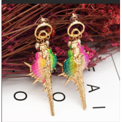 E-5268  Summer Sea Style Conch Shell Pendant Earrings for Women's Jewelry Design