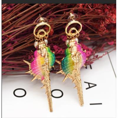 E-5268  Summer Sea Style Conch Shell Pendant Earrings for Women's Jewelry Design