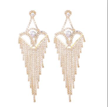 E-5281 Fashion Silver Gold Metal Full Rhinestone Tassel Drop Earrings For Women Wedding Party Jewelry
