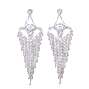 E-5281 Fashion Silver Gold Metal Full Rhinestone Tassel Drop Earrings For Women Wedding Party Jewelry