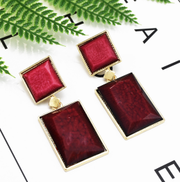 E-5133  2 Colors Contrast Square Acrylic Fashion Dangle Earrings For Women Wedding Party Jewelry