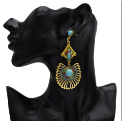 E-5309 New Arriva Bohemian Dangle Drop Women shaped Turquoise Earrings for Women Jewelry