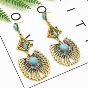 E-5309 New Arriva Bohemian Dangle Drop Women shaped Turquoise Earrings for Women Jewelry