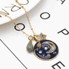 N-7233 Star Moon Beads Long Chain Necklace Women's Party Gift Jewelry