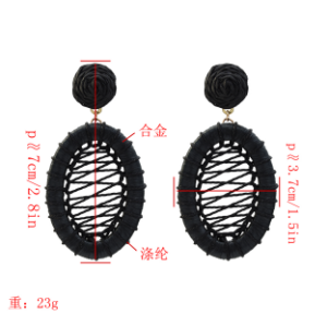 E-5334  4 Colors Boho Straw Woven Earrings Handmade Drop Dangle Geometric Earrings for Women