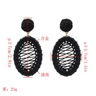 E-5334  4 Colors Boho Straw Woven Earrings Handmade Drop Dangle Geometric Earrings for Women