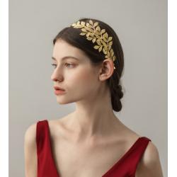 F-0643  2 Color Fashion Gold Plated Alloy Hairband Leaf Shape Bride Headband Hair Jewelry