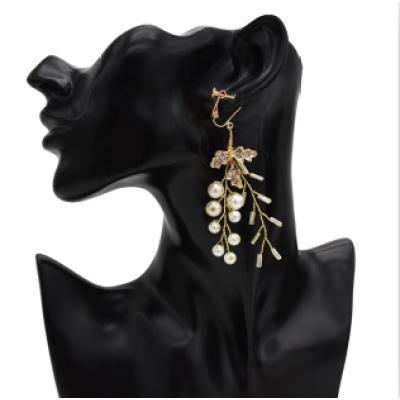 E-5343  4 PCS/set European Style Gold Plated Multiple Pearl Branch Shape Hair Clips Earring Set