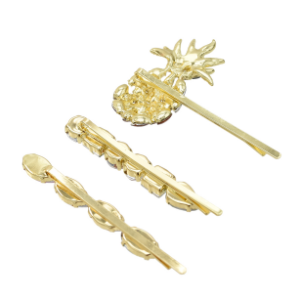 F-0654  3pcs/set Fashion Golden Pineapple Shape Rhinestone Hairpin Female Hairpin Hair Accessories