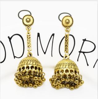E-5348  Bohemia Vintage Indian Silver Gold Plated Zamak Bells Tassel Earrings For Women Ethnic Jewellry