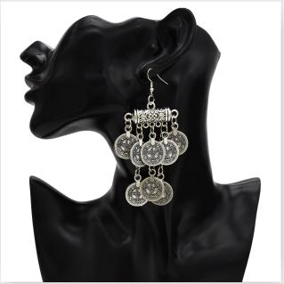 E-5350 Ethnic Vintage Style Silver Zamak Gypsy Indian Coin Long Tassel Statement Earrings Female Bohemian Jewelry