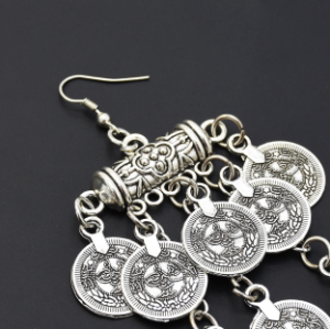 E-5350 Ethnic Vintage Style Silver Zamak Gypsy Indian Coin Long Tassel Statement Earrings Female Bohemian Jewelry