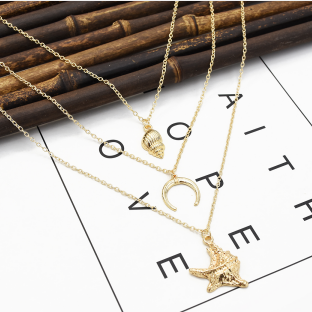 N-7246  3 Style Simple Silver Gold Alloy Shell Statement Multi-layer Chain Necklace Female Fashion Jewelry