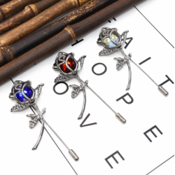 P-0437  3 Color Women Silver Metal  Flower Brooch Pins Shirt Dress Clothes Fashion Accessories