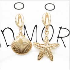 E-5366  Fashion Marine Style Starfish Sea Shell Summer Earrings Female Wedding Party Jewelry