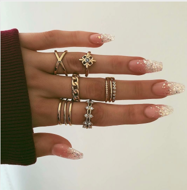 R-1507   8 Pcs/set Rings Set Vintage Rhinestone Midi Finger Ring Sets for Women Gypsy Dancer  Boho Party Jewelry