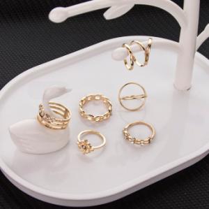 R-1507   8 Pcs/set Rings Set Vintage Rhinestone Midi Finger Ring Sets for Women Gypsy Dancer  Boho Party Jewelry