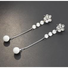 E-5384  Silver Needle Shaped Rhinestone Zircon Drop Earrings Golden Ladies Wedding Party Jewelry