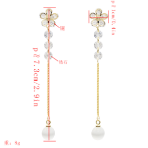 E-5384  Silver Needle Shaped Rhinestone Zircon Drop Earrings Golden Ladies Wedding Party Jewelry