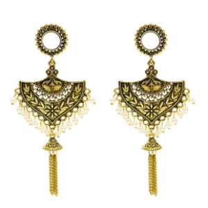 E-5387 Indian Vintage Gold Silver Bell Tassel Statement Jhumka Earrings For Women Party Jewelry