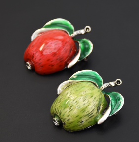 P-0439 Red Green Enamel Apple Brooches For Women Girl Dress Suit Summer Party Accessories