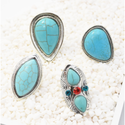 R-1511 4 Style Vintage Bohemian Silver Plated Turquoise Ring Adjustable Ring