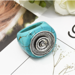R-1512 2 Style Exaggeration Vintage Bohemian Silver Plated Turquoise Adjustable Ring