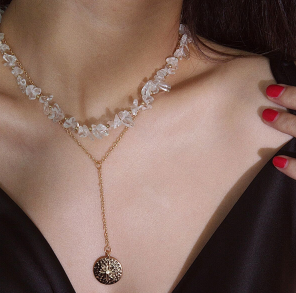 N-7272 Fashion transparent rough alloy necklace coin pendant ladies party jewelry