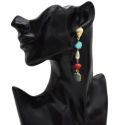E-5415 Bohemian Metal Turquoise Pearl Alloy Shell Pendant Drop Hoop Earrings for Women Summer Beach Jewelry