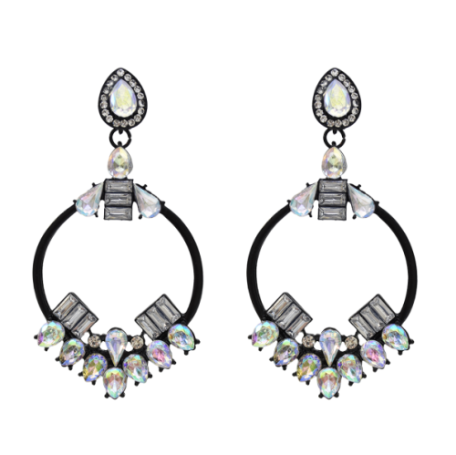 E-5467 Big Hoop Round Circle Crystal Pendant Drop Earrings For Women Wedding Statement Earrings Jewelry Gifts