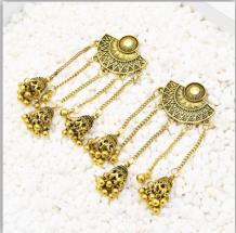 E-5500 Fashion Indian Earrings for Women Oxidized Jhumka Silver Gold Big Long Tassel Bells Drop Earring