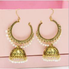 E-5506 Classic Big Bells Pendant Indian Earrings Women Bohemia Ethnic Metal Geometric Drop Earring